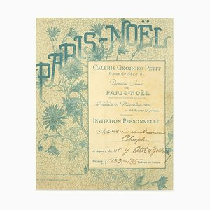 George Petit - Invitation of Premiere Soiree Paris Noel - Lithograph by George Little - 1883
