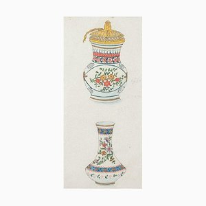 Gabriel Fourmaintraux - Two Vases - Original Mixed Media - Early 20th Century