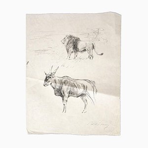 Wilhelm Lorenz - Gnu and Lion - Original Pencil On Paper by Wilhelm Lorenz - Mid-20th Century
