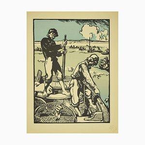 Augustus Lepère - Sea Wolves - Original Lithographie von Auguste Lepère - 1898