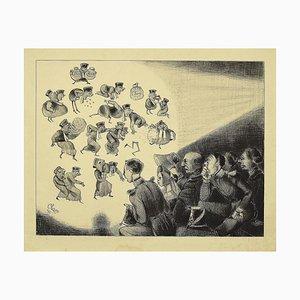 Charles Amedee De Noe (cham) - Silente Cinema - Original Lithographie von Cham - Mid-19. Century