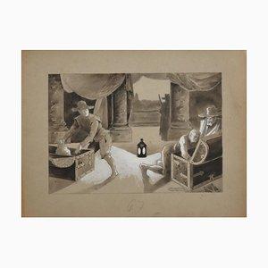 Unknown - Thieves - Original Bleistift, Aquarell und Blei in Weiß - 19. Jahrhundert
