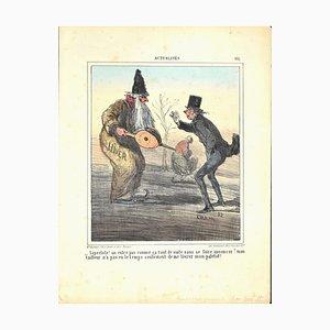 Lithographie Charles Amedee De Noe (cham) - News, Winter - Original par Cham - 1882