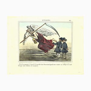 Charles Amedee De Noe (cham) - News, Old Angle - Original Lithograph by Cham - 1865