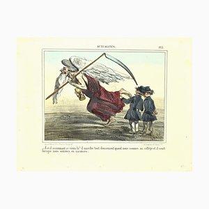 Lithographie Charles Amedee De Noe (cham) - News, Old Angle - Original par Cham - 1865