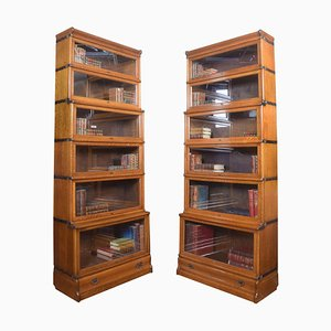 Oak 6-Section Bookcases from Globe Wernicke, Set of 2