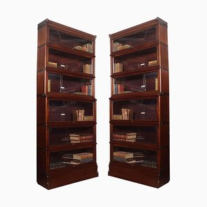 Mahogany 6-Section Bookcases from Globe Wernicke, Set of 2