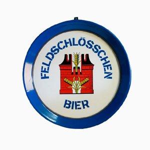 Insegna pubblicitaria Feldschlößchen Bier in metallo smaltato, Svizzera