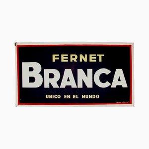 Insegna pubblicitaria Fernet Branca in metallo smaltato, Spagna