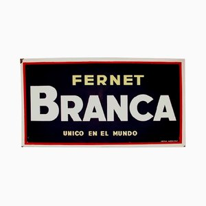 Spanish Fernet Branca Enameled Metal Billboard