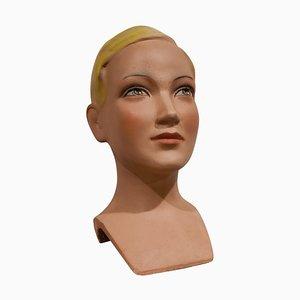 Vintage French Plaster Child Mannequin Head