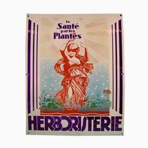 Cartel de herboristería de metal esmaltado de Gunther para Tourcoing
