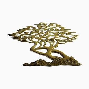 Scultura da parete vintage a forma di bonsai in ottone, anni '60