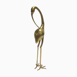 Pájaro grande vintage de latón con grullas, años 70