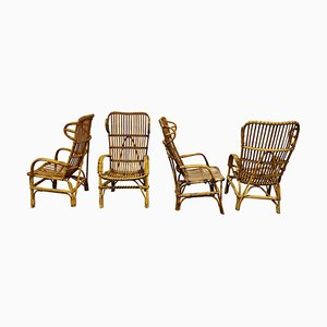 Vintage Rattan High Back Lounge Chair, 1960s
