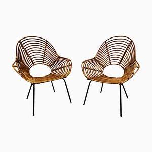 Mid-Century Stühle aus Rattan, 1960er, 2er Set