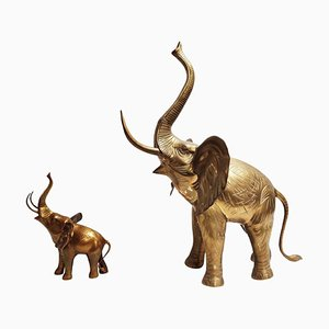 Large Brass Elephant Sculptures, 1970s, Set of 2