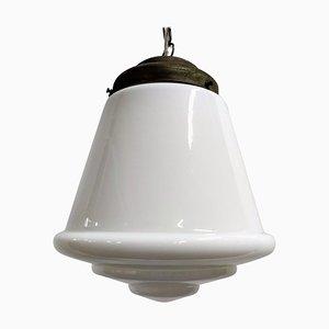 Large Stepped Opaline Pendant Light, 1930s, France