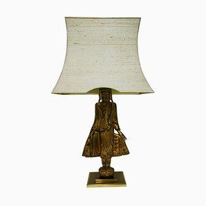 Lampada da tavolo grande in legno dorato, anni '60