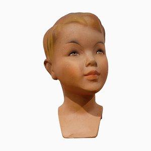 Tête de Mannequin Enfant Vintage en Plâtre, France