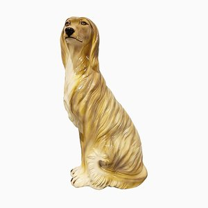 Vintage Painted Ceramic Dog Sculpture, 1960s