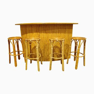 Large Mid-Century Bamboo Bar and Stools, 1960s, Set of 5