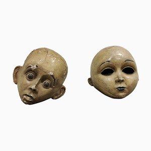 Antiche maschere antiche in cartapesta, inizio XX secolo, set di 2