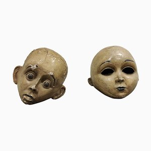 Large Antique Papier Maché Carnival Masks, 1900s, Set of 2