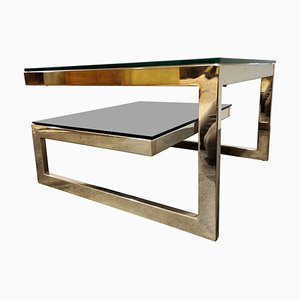 Vintage G Model Two-Tier 23-Karat Coffee Table from Belgo Chrom, 1970s
