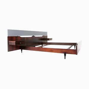 Mid-Century Italian Wood Bed by Claudio Salocchi for Sormani, 1960s