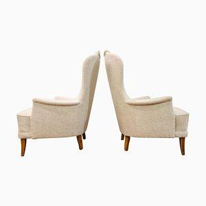 Mid-Century Scandinavian Model Farmor Lounge Chairs by Carl Malmsten, Set of 2