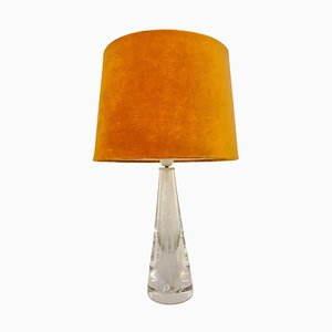 Mid-Century Crystal Glass Table Lamp by Vicke Lindstrand for Kosta, Sweden