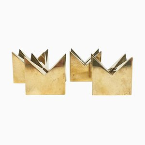 Brass Candleholders by Pierre Forsell for Skultuna, Sweden, 1960s, Set of 4