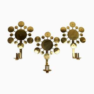Brass Wall Candlesticks Sunburst by Holmström, Arvika, Sweden, 1960s, Set of 3