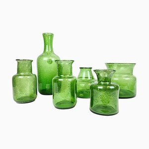 Mid-Century Green Vases by Erik Hoglund, Sweden, 1960s, Set of 6