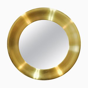 Large Brass Mirror from Glasmäster in Markaryd, Sweden, 1970s