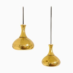 Mid-Century Brass Pendants by Hans-Agne Jakobsson, Set of 2