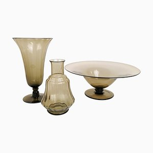 Art Deco Pieces by Simon Gate for Orrefors, Sandvik, 1920s, Set of 3