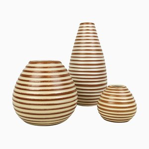 Art Deco Ceramic Rondi Vases from Upsala-Ekeby, Set of 3