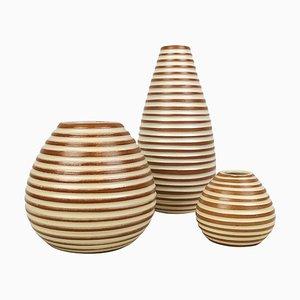 Art Deco Keramik Rondi Vasen von Upsala-Ekeby, 3er Set