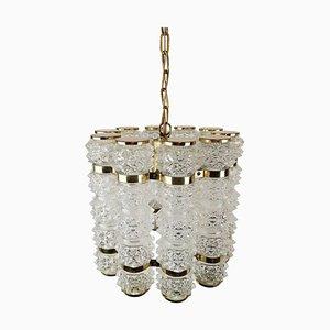Brass and Crystal Cylinder Chandelier by Tyringe for Orrefors, Sweden