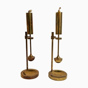 Scandinavian Danish Modern Brass Gyroscope Oil Lamps, Set of 2