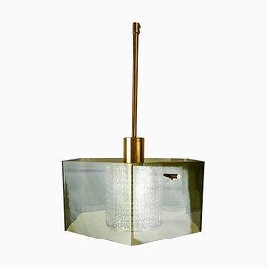Lampada da soffitto Mid-Century in vetro soffiato a mano verde di Carl Fagerlund per Orrefors