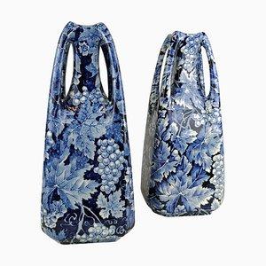 Art Nouveau Vasen Trauben von Rörstrand Sweden, 2er Set