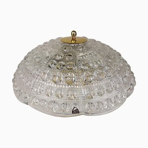 Crystal and Brass Ceiling Light by Carl Fagerlund for Orrefors, 1960s