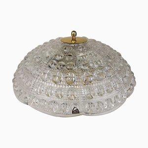 Kristall und Messing Deckenlampe von Carl Fagerlund für Orrefors, 1960er