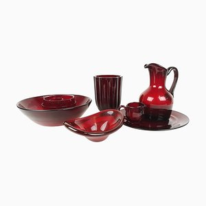 Ruby Red Glass Tableware Set from Reijmyre, Sweden, 1960s, Set of 10
