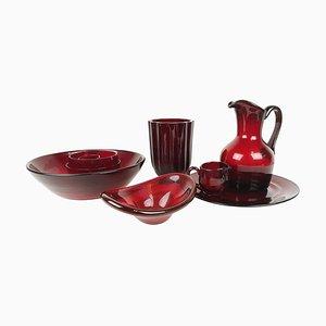 Vaisselle en Verre Rouge Rubis de Reijmyre, Suède, 1960s, Set de 10