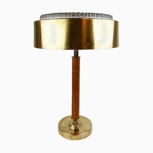 Schwedische Mid-Century Tischlampe aus Messing, Kristallglas und Holz von Boréns