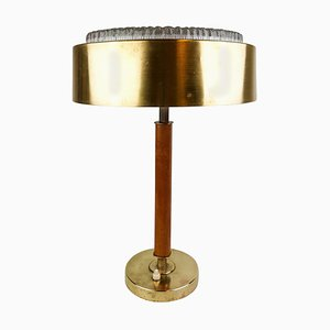 Swedish Mid-Century Table Lamp in Brass, Crystal and Wood from Boréns